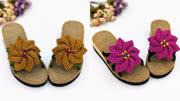 妈妈爱手工鞋-八瓣梅拖鞋,夏季凉鞋编织视频,手编拖鞋教学视频
